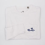 White Rudder USA Long Sleeve Logo T Shirt with blue logo. Classy Long Sleeve T Shirt. Simple Long Sleeve Logo t shirt. 100% Cotton Long Sleeve T Shirt.