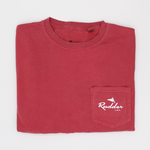 The Rudder USA Classic Logo T Shirt in Nautical Red. Front view includes pocket t shirt with white Rudder USA logo. Preppy simple t shirt with Rudder USA logo.