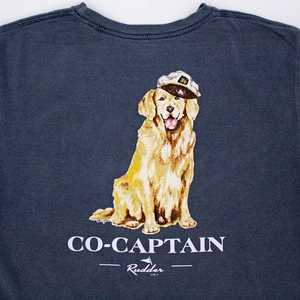 Rudder USA Co-Captain Golden Retriever Dog Print on Navy shirt with white wording. Rudder USA Nautical Print Short Sleeve T Shirt in Navy Blue.