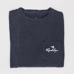 The Rudder USA Classic Logo T Shirt in Navy Blue. Front view includes pocket t shirt with white Rudder USA logo. Preppy simple t shirt with Rudder USA logo.