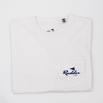 The Rudder USA Classic Logo T Shirt in Classic White. Front view includes pocket t shirt with blue Rudder USA logo. Preppy simple t shirt with Rudder USA logo.