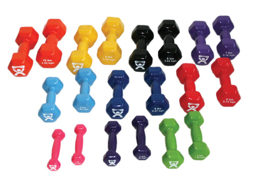 Economy vinyl-coated iron dumbbell, 10 pc set
