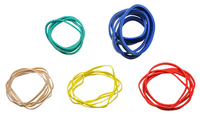 Color-coded rubber bands (5 ea: tan, yellow, red, green, blue)