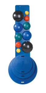 10-Ball Set with Wall Rack (2 each: yellow, red, green, blue, black)