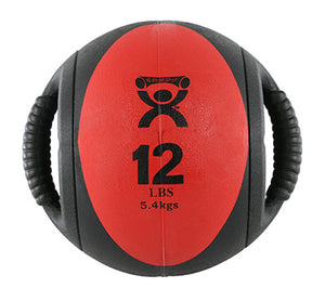 "Dual-Handle Medicine Ball - 9"" Diameter - Red - 12 lb"