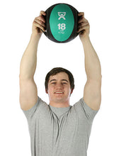 "Load image into Gallery viewer, Dual-Handle Medicine Ball - 9"" Diameter - Green - 18 lb"