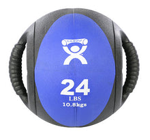 "Load image into Gallery viewer, Dual-Handle Medicine Ball - 9"" Diameter - Blue - 24 lb"