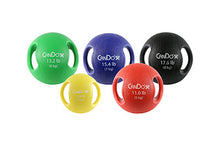 Load image into Gallery viewer, Molded Dual Handle Medicine Ball - 5 pc set (Tan, Yellow, Red, Green, Blue)
