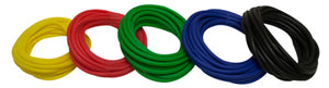 Latex Free Exercise Tubing - 25' rolls, 5-piece set (1 each: yellow, red, green, blue, black)