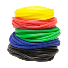 Load image into Gallery viewer, Latex Free Exercise Tubing - 25' rolls, 5-piece set (1 each: yellow, red, green, blue, black)