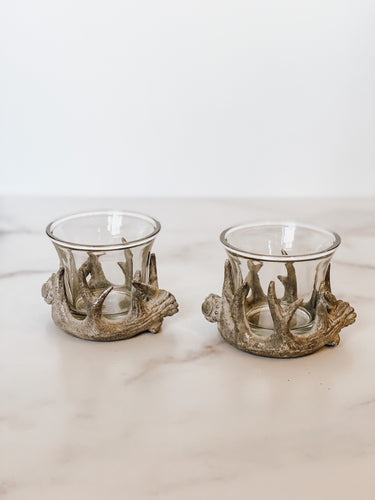 Silver Antler Votive Holders