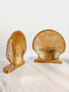 Vintage Solid Brass Clamshell Bookends (Set)