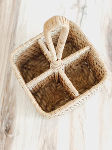 Whitewashed Wicker Utensil Carrier