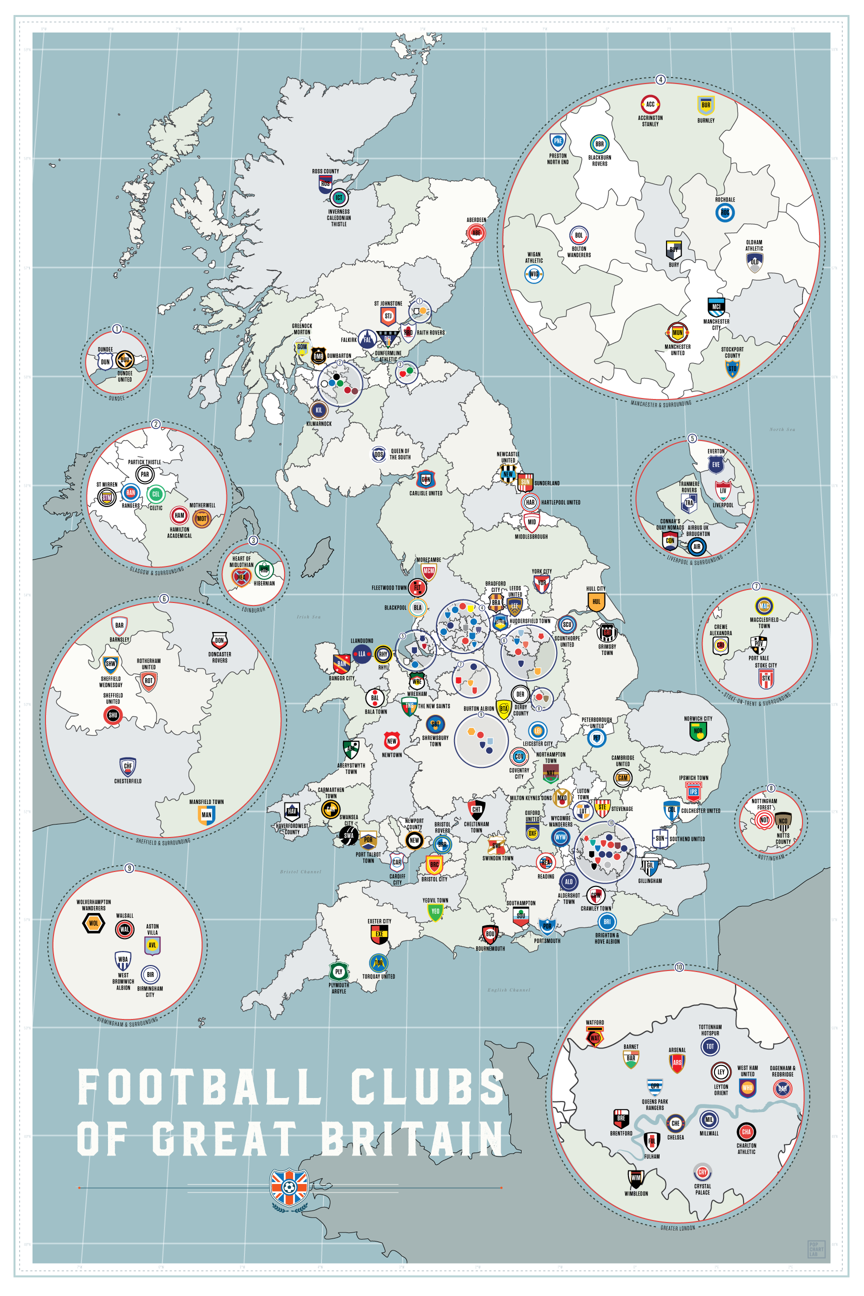 All British Clubs Along With The Location On Map Soccer