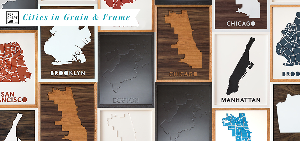 City Drop-Cut Wood Wall Maps