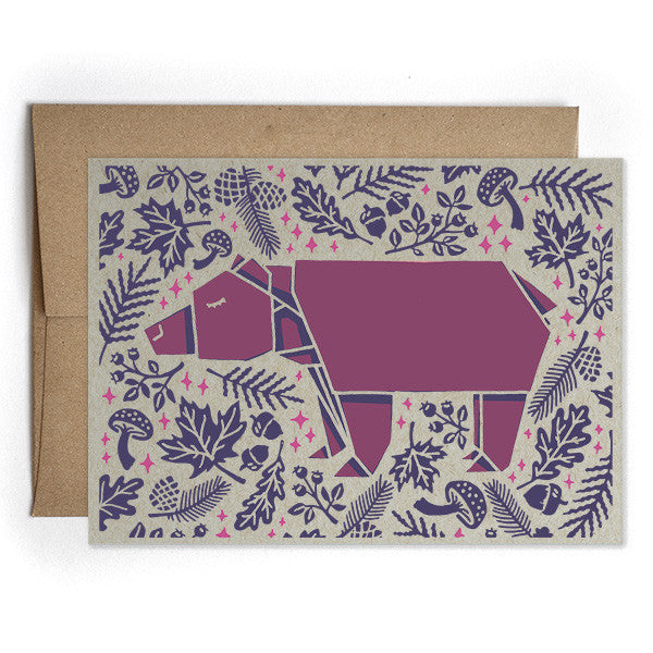 Bear Origami Kraft Card