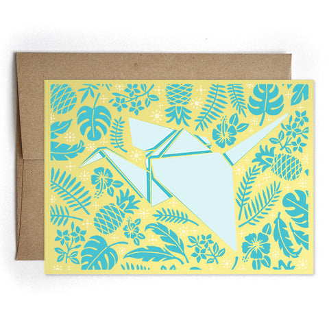 Crane Origami Yellow Card