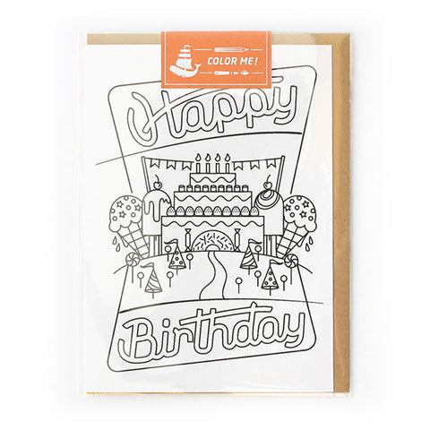 Happy Birthday Color Me Card