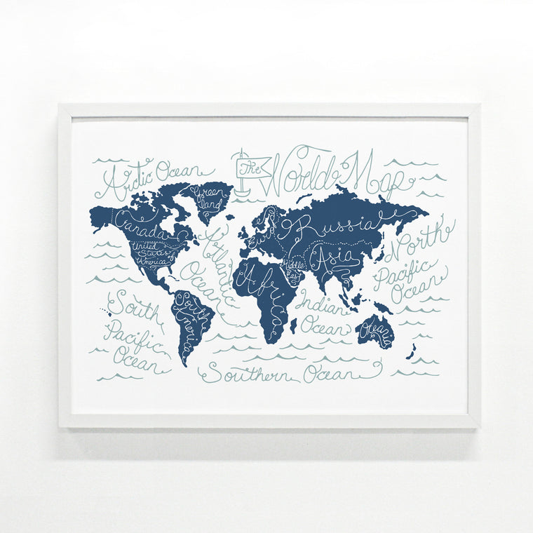 Slate Blue World Map 18 x 24 modern screen printed poster by Monorail Studio
