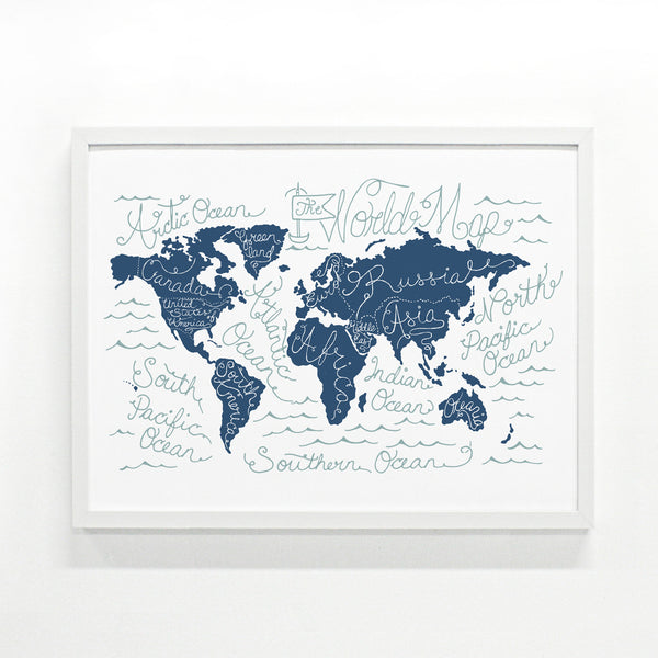 Silkscreen Print World Map Screen Printed Poster 18 X 24 Poster