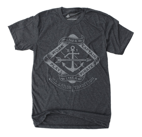 Play Like A Pirate Mens Unisex Heather Black T shirt