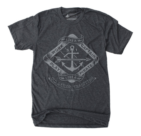 Play like a Pirate - Unisex Heather Black T-Shirt