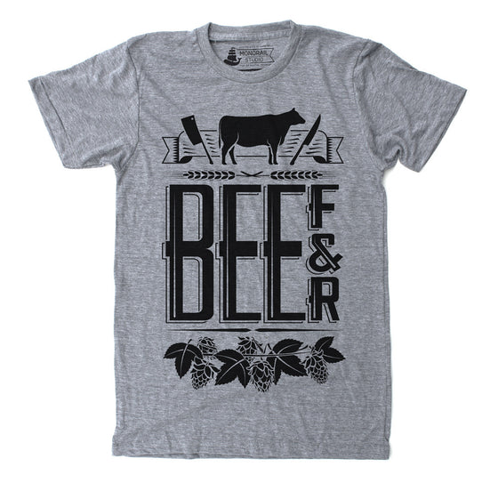 Mens Unisex Athletic Grey t-shirt with foodie Beef and Beer theme