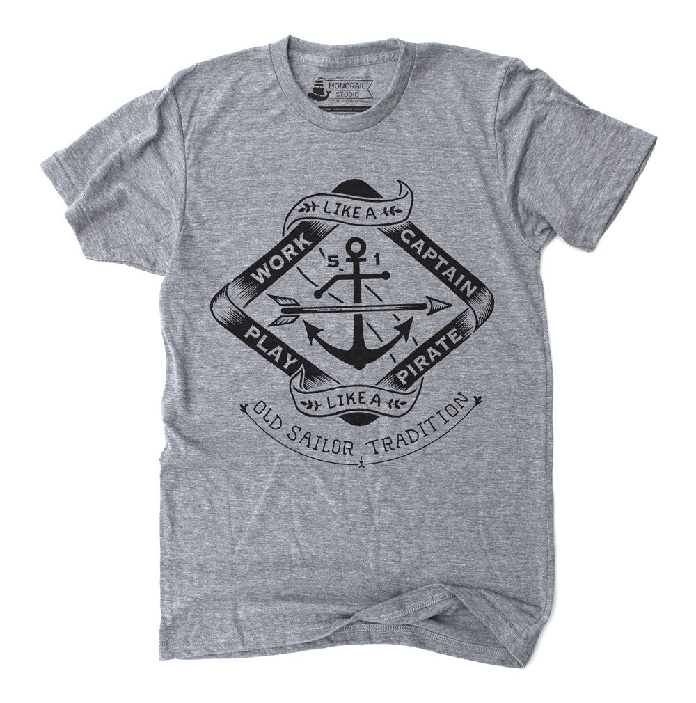 Athletic Grey Mens Unisex Work Like A Captain T shirt