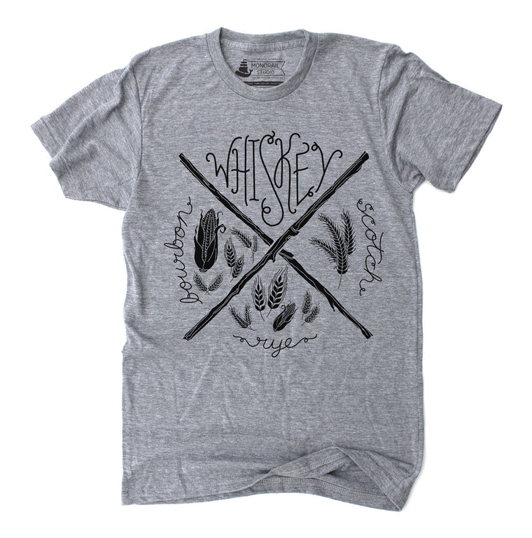 Whiskey Athletic Grey Graphic Mens Unisex T Shirt