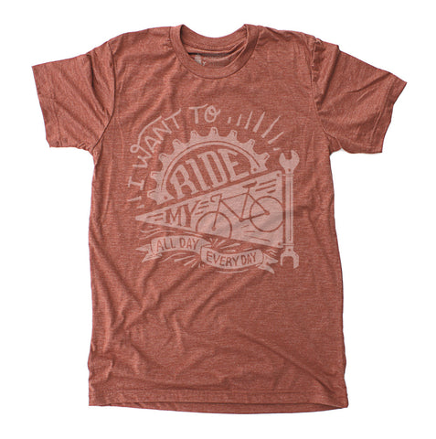 Ride My Bike - Unisex Tri-Blend Clay Red T-Shirt