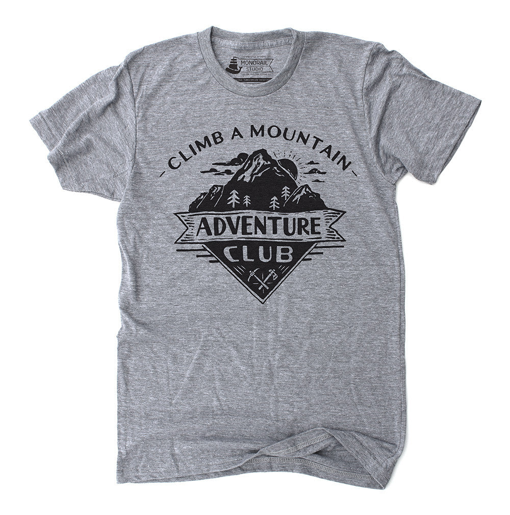 Grey unisex t-shirt with Adventure Club Mountain design