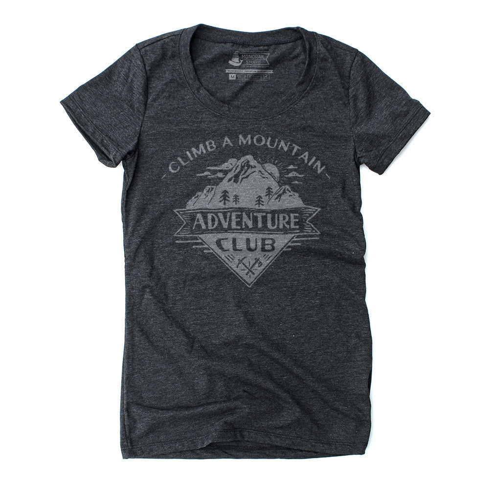women's graphic tshirt in heather black with mountain image