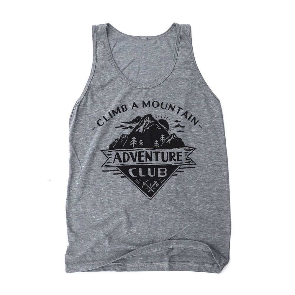 Grey unisex tank top with climb a mountain adventure club design