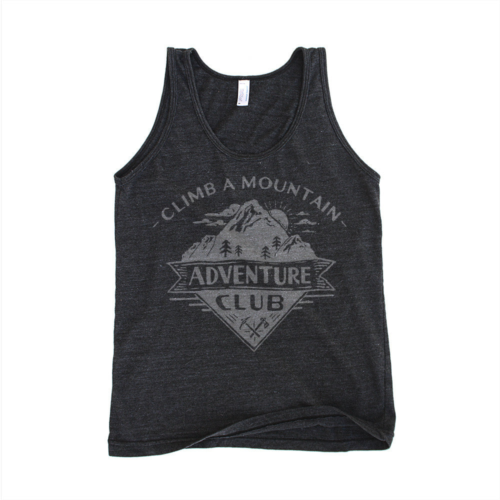 Charcoal Black unisex tank top with adventure club mountain design