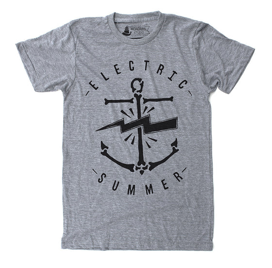Unisex Mens Athletic Grey Electric Summer anchor t shirt