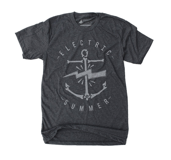 Electric Summer Anchor unisex mens heather black t shirt