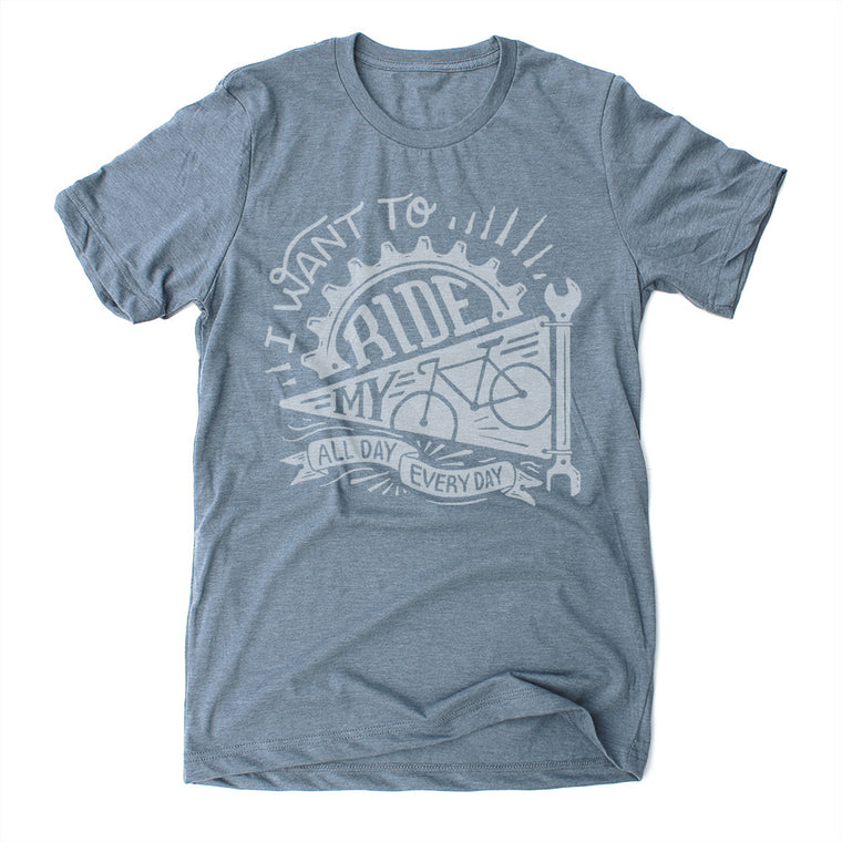 Slate Blue Ride My Bike Men's Unisex Screen printed T Shirt