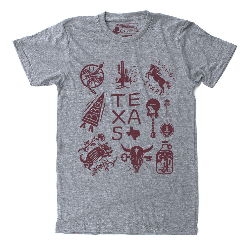 Texas themed Mens Unisex Graphic T Shirt in Athletic Grey