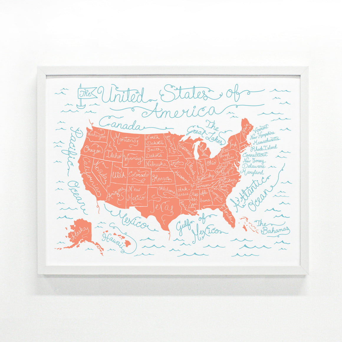 Coral USA Map 18 x 24 modern screen printed poster
