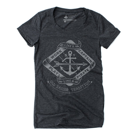 Play like a Pirate - Women's Tri-Blend Heather Black T-Shirt