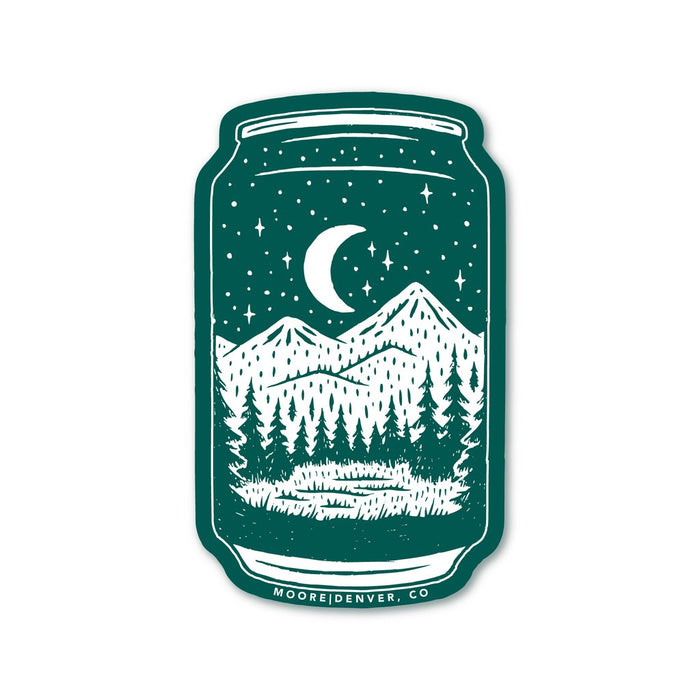 Beer Can Sticker with Mountain Graphic