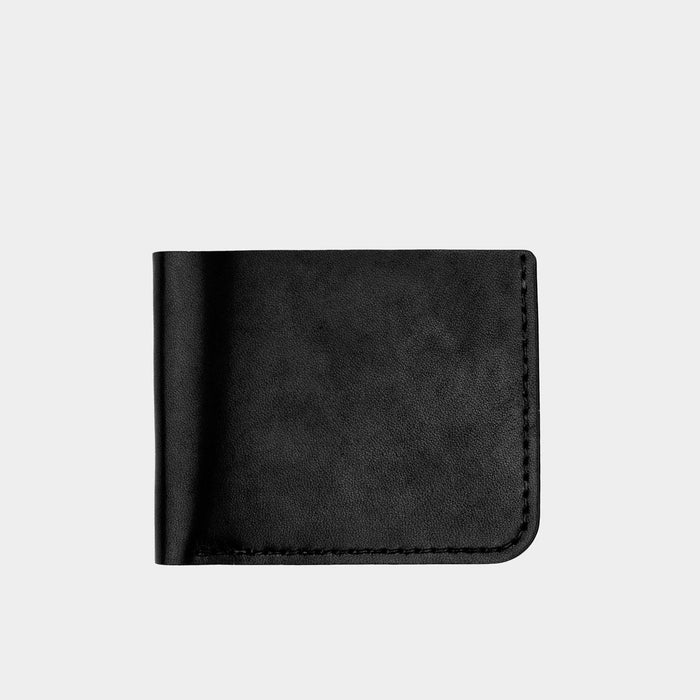 Horween Leather Billfold Wallet - Black Dublin Front View