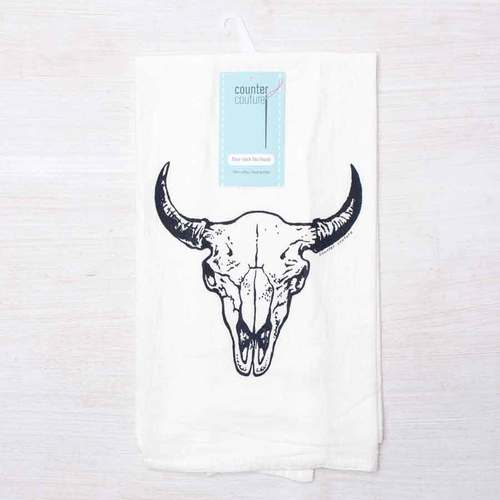 Buffalo Skull Flour Sack Tea Towel
