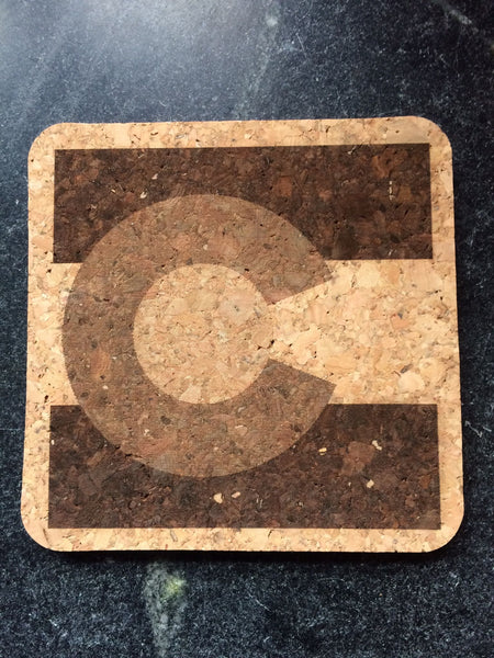 Colorado Flag Cork Coaster