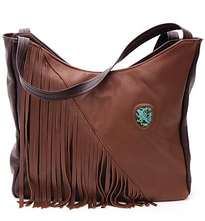 Cowhide Fringe Tote with Turquoise Stone