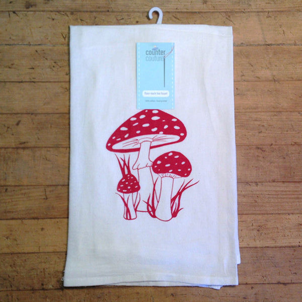 Toadstool Flour Sack Tea Towel