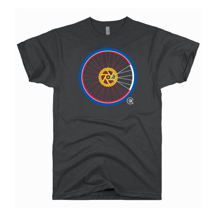 Mountain Bike Wheel Colorado Flag T-Shirt (Men's)