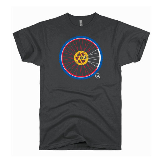Mountain Bike Wheel Colorado Flag T-Shirt