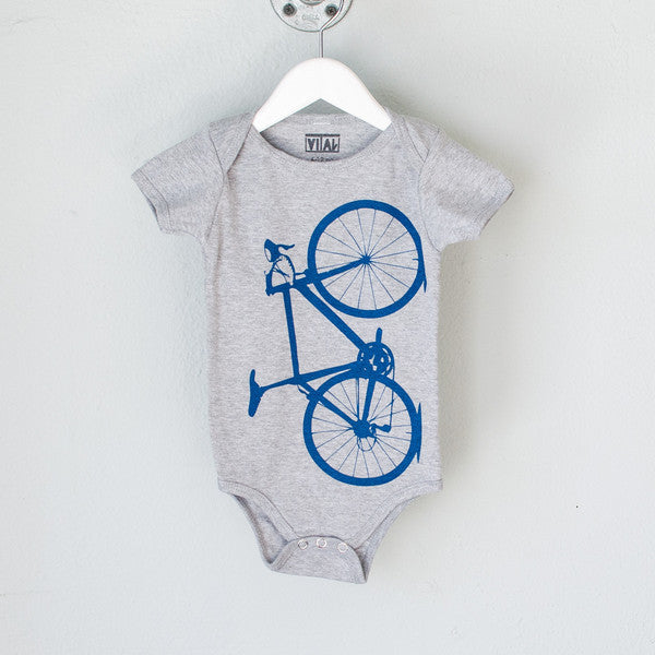 Bicycle Graphic Baby One Piece in Blue