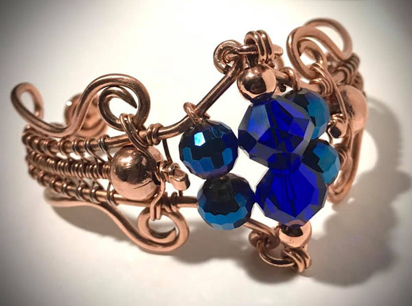 Blue Glass and Copper Bracelet